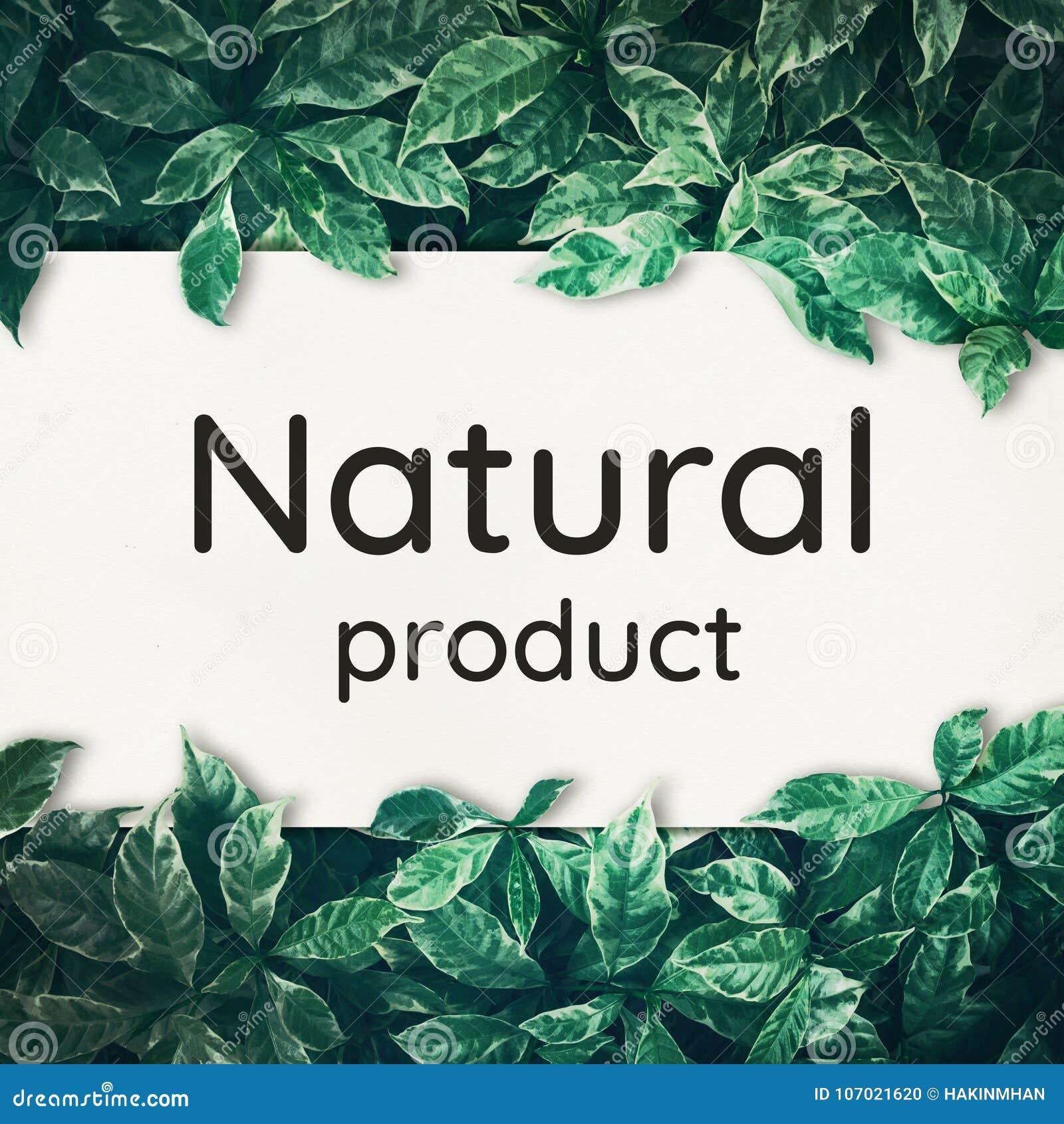Natuurlijk producttekst met groene bladachtergrond