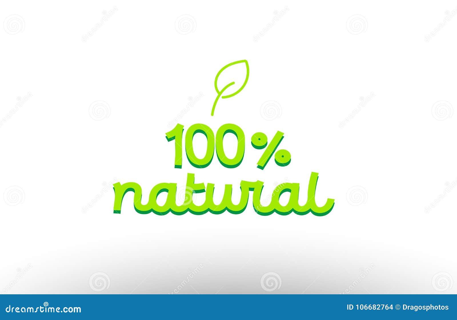100  natuurlijk woordconcept met groene desi van het het pictogrambedrijf van het bladembleem
