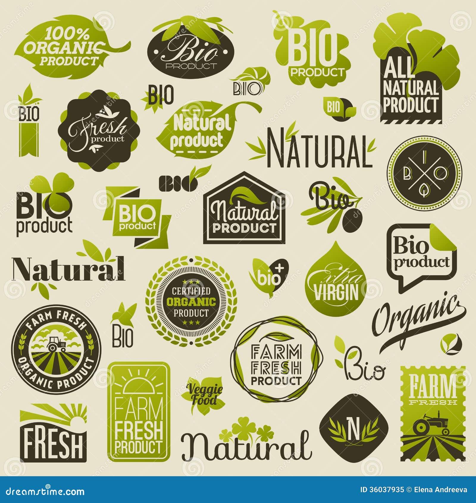 Natuurlijke biologisch productetiketten en emblemen. Reeks vectoren