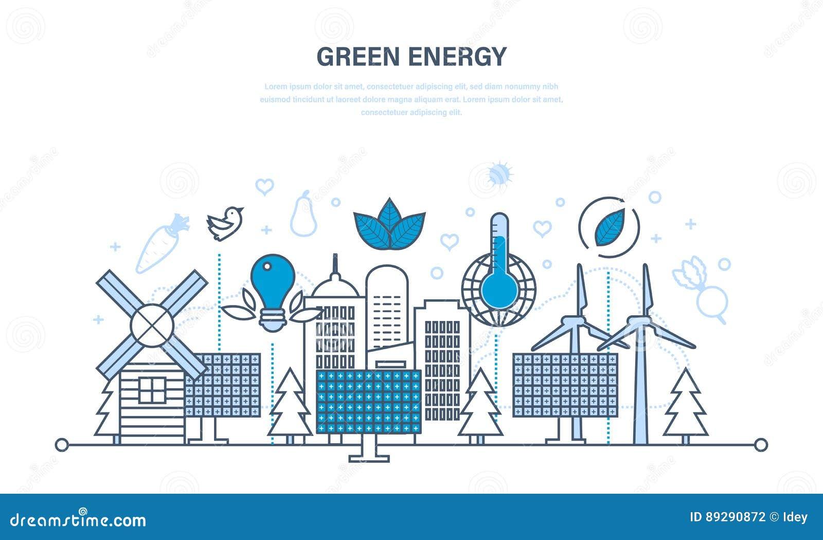 Natuurlijke energie, milieuvriendelijke middelen en zorgvuldige behandeling van hen