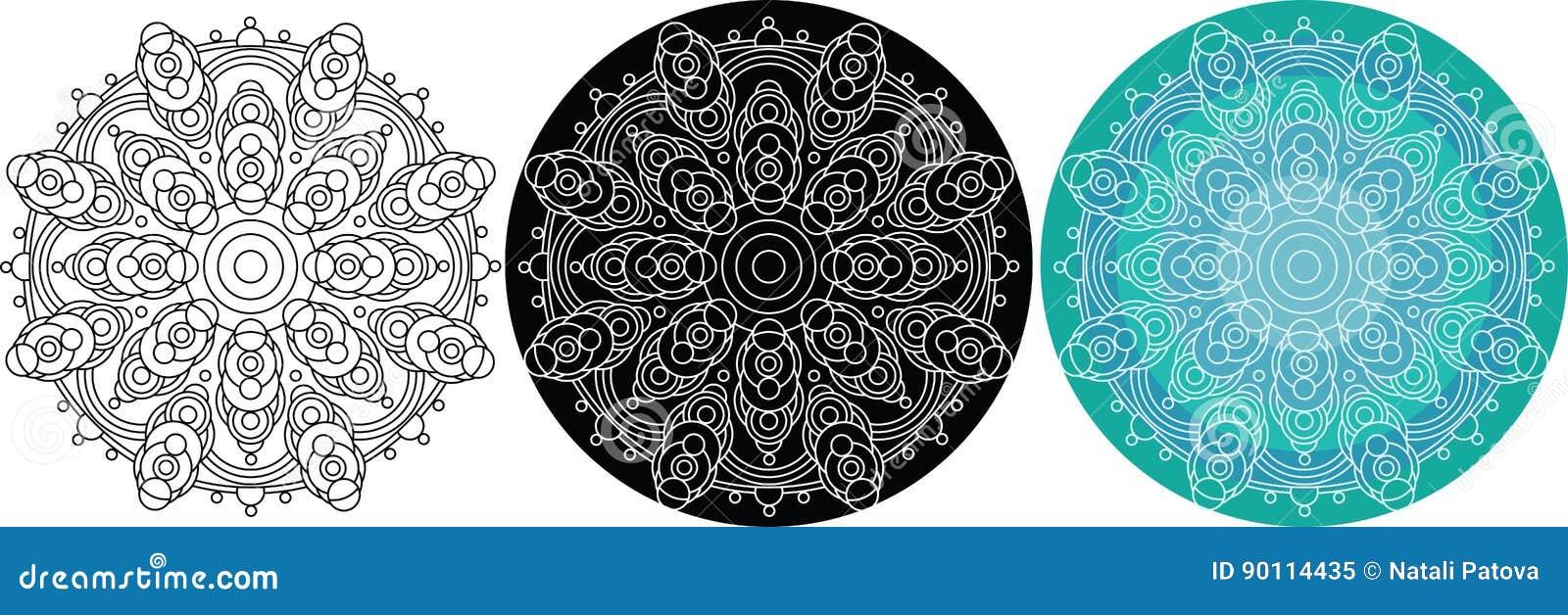 518de411107 Natuurlijke mandala van cirkels voor het kleuren van boek Rond patroon