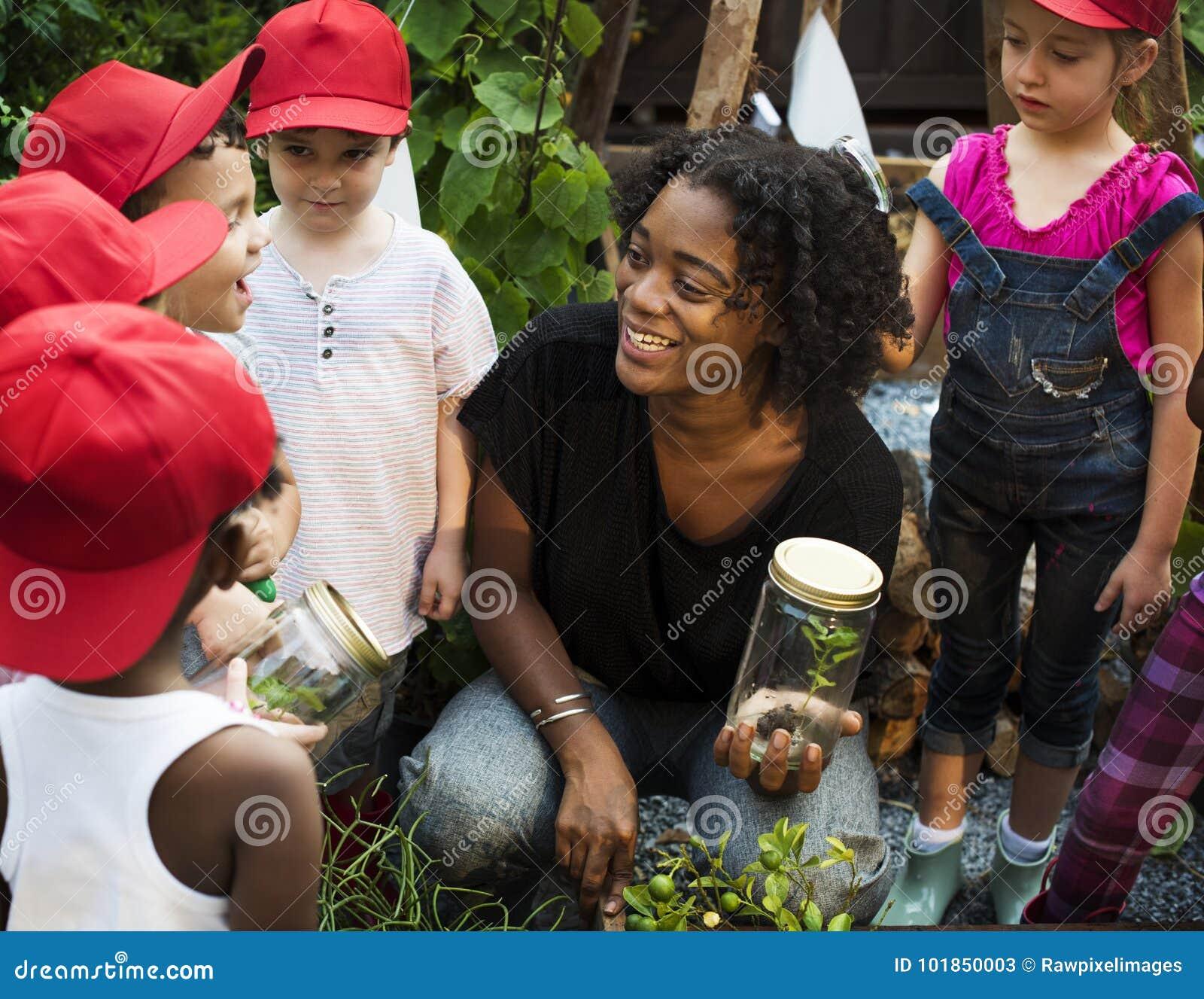 Nauczyciel i dzieciaki ma zabawę uczy się o roślinach
