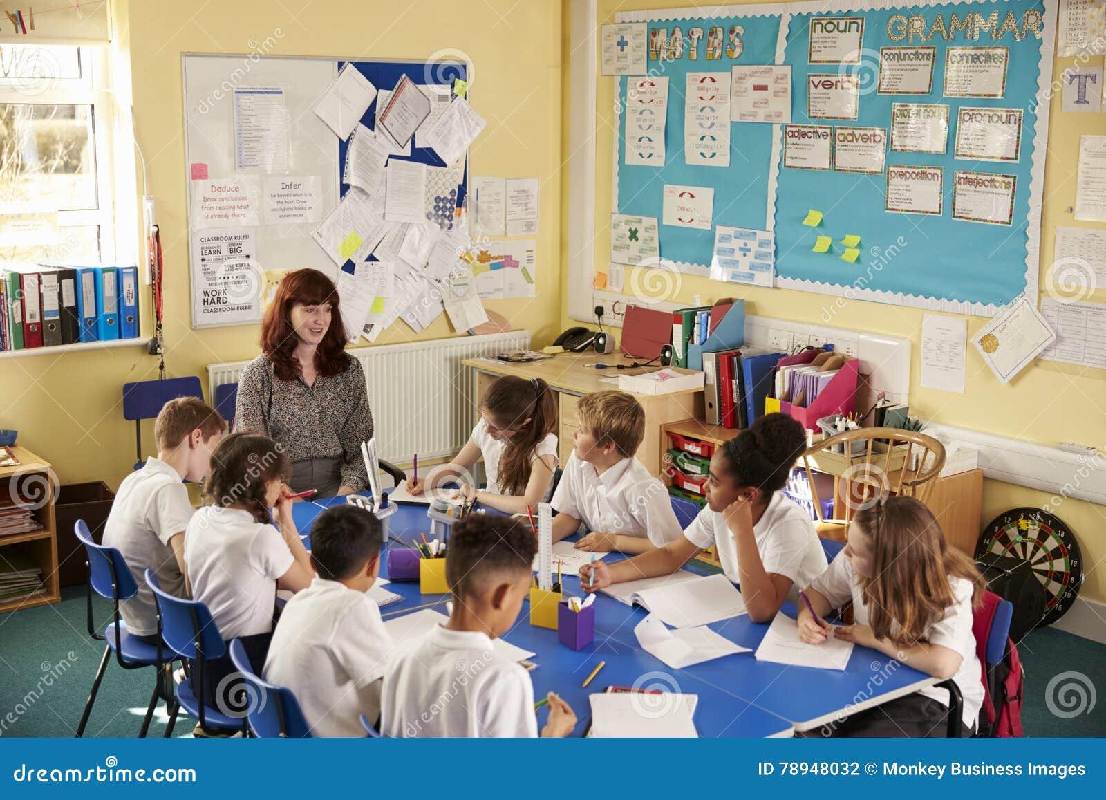 Nauczyciel i dzieciaki pracujemy na klasowym projekcie, podwyższony widok