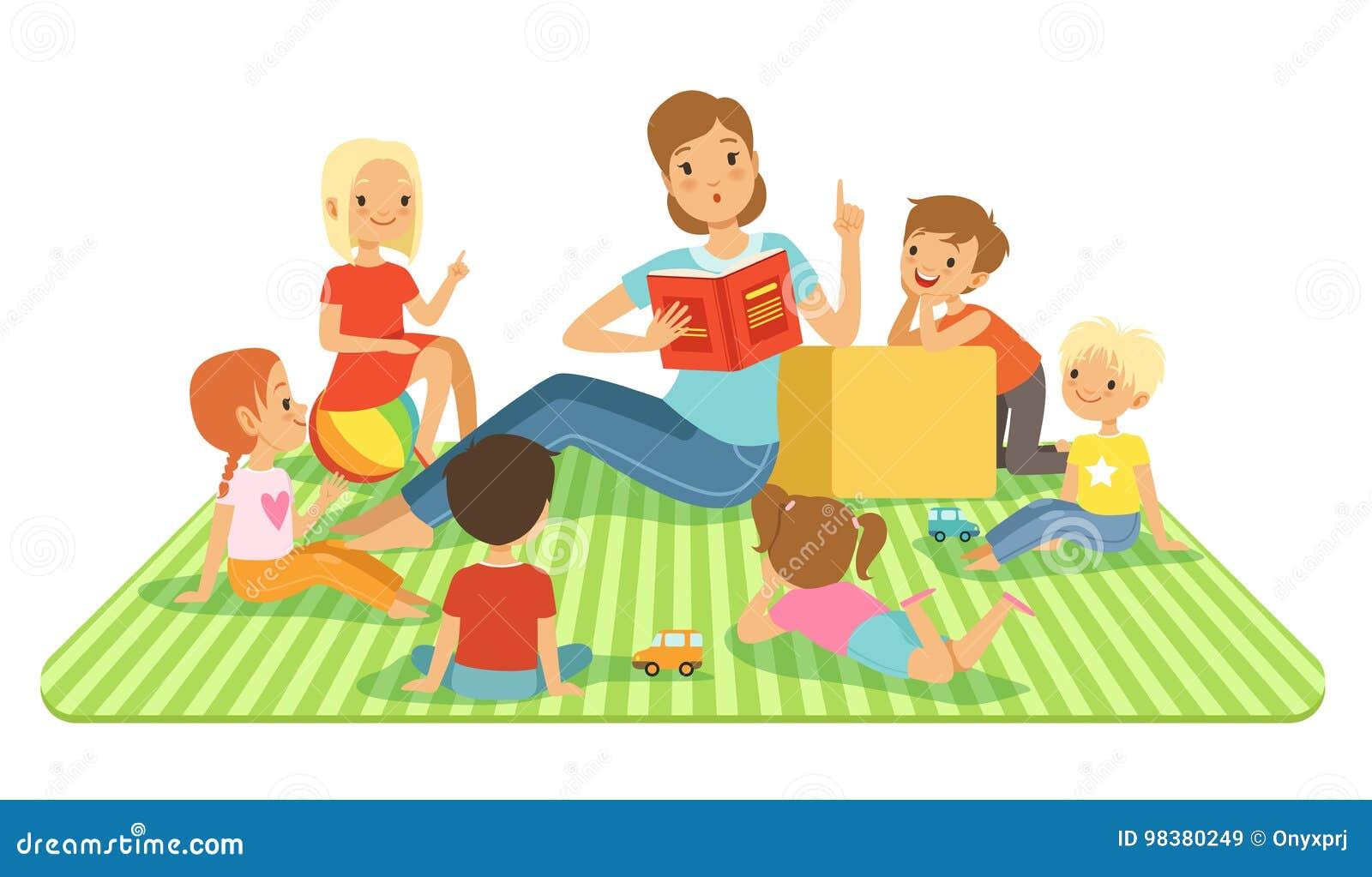 Nauczyciel i dzieciaki w dużej sala lekcyjnej przy lekcją Children obsiadanie przy ich dasks Wektorowe ilustracje w kreskówka sty