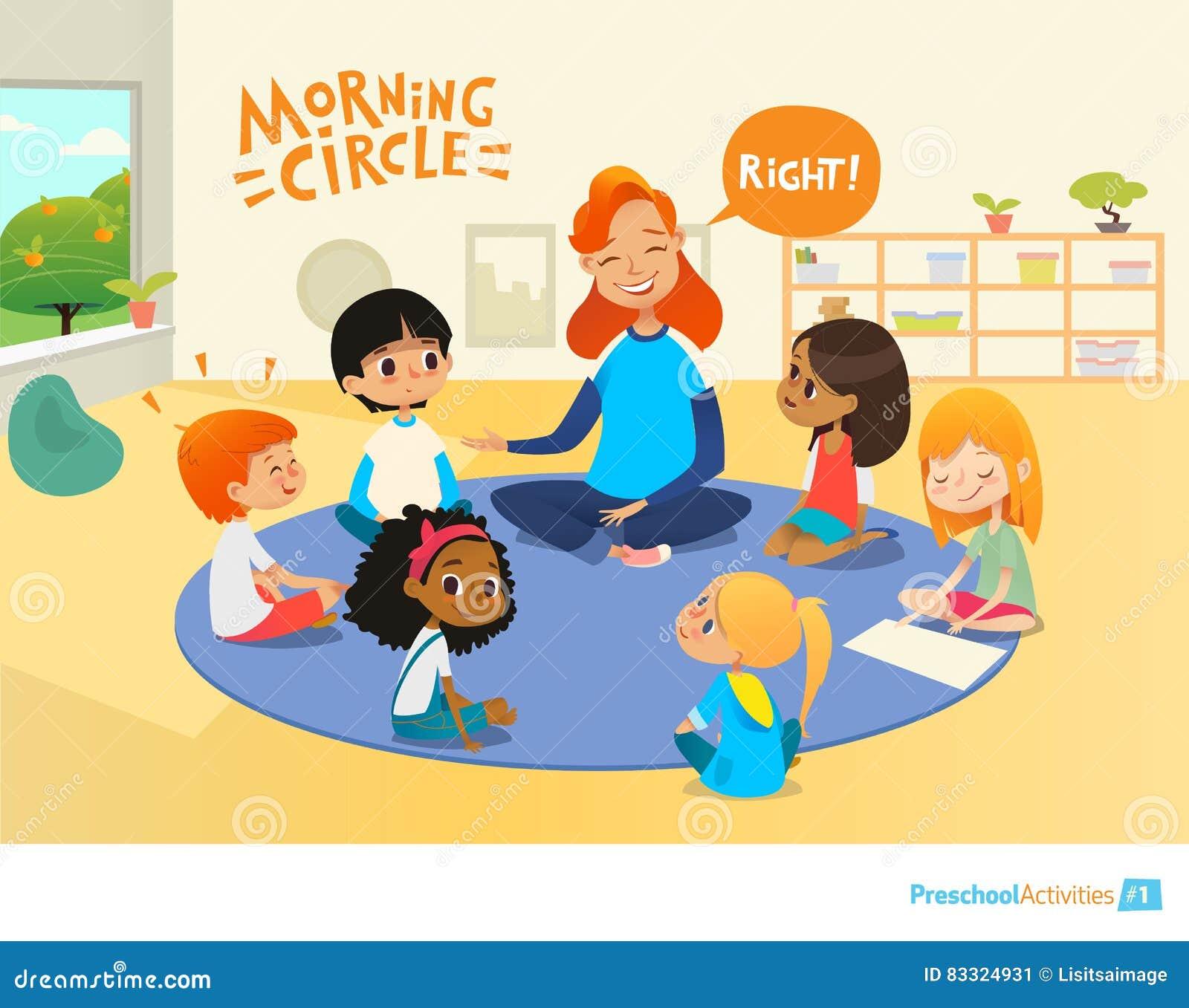 Nauczyciel pyta dzieciom pytania i zachęca one podczas ranek lekci w preschool sala lekcyjnej Czas Pre