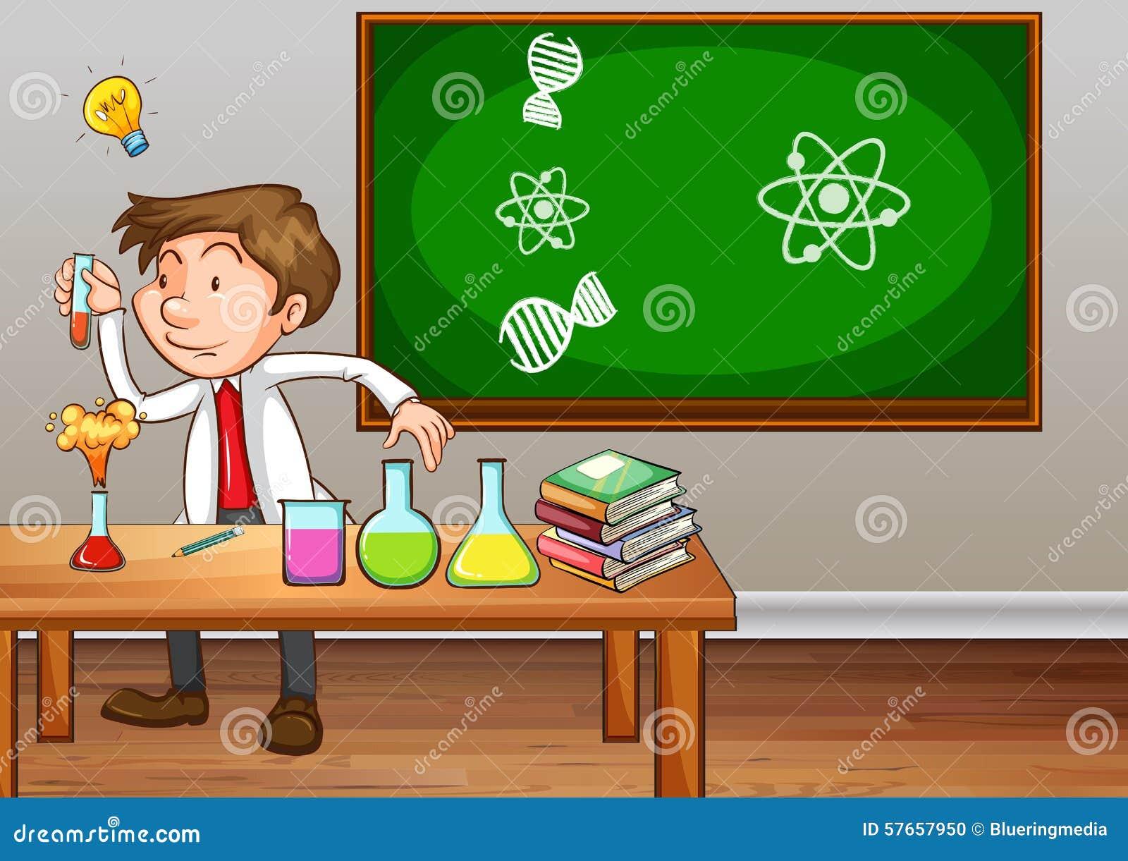 Nauczyciela nauk ścisłych doświadczalnictwo w sala lekcyjnej