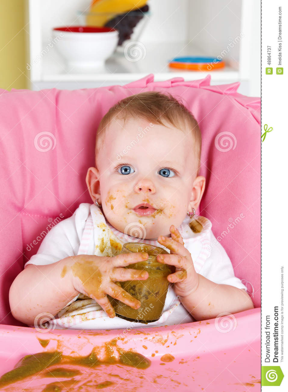 naughty baby girl making a mess while eating stock image image of