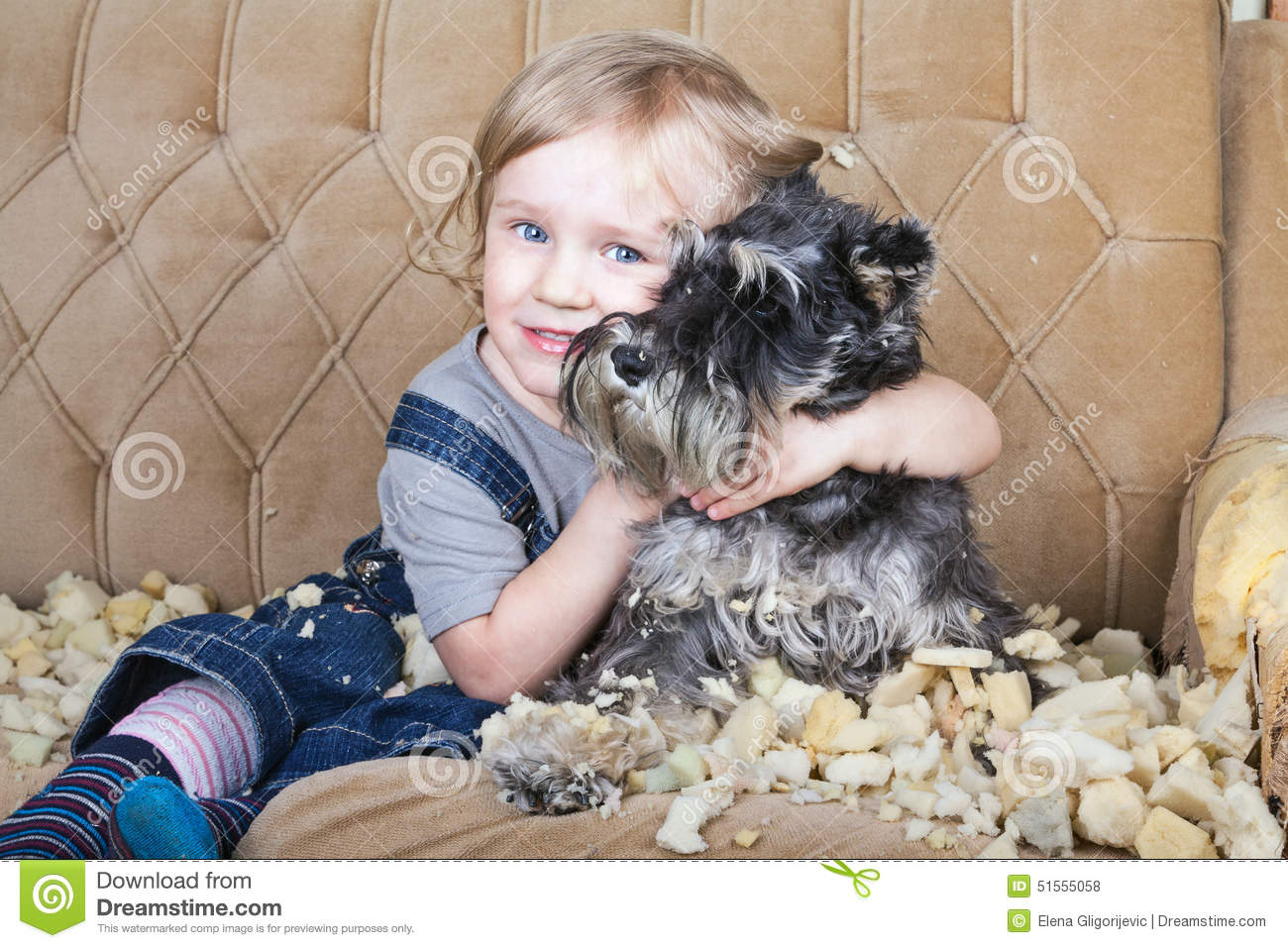 Naughty Child And Puppy Stock Photo Image Of Decline