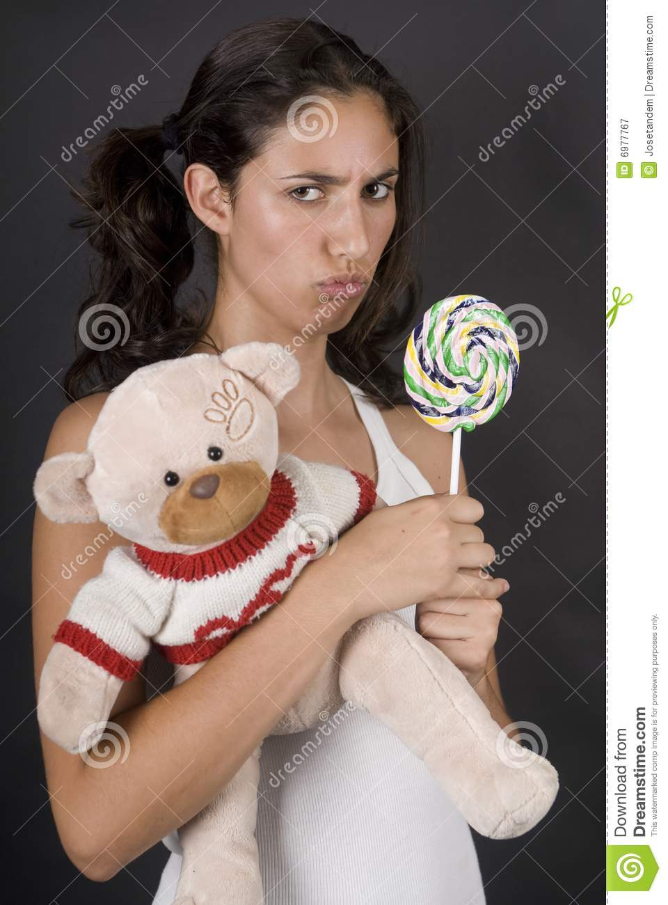 Naughty Girl Eating A Large Lolly Pop Stock Image Image Of Girl