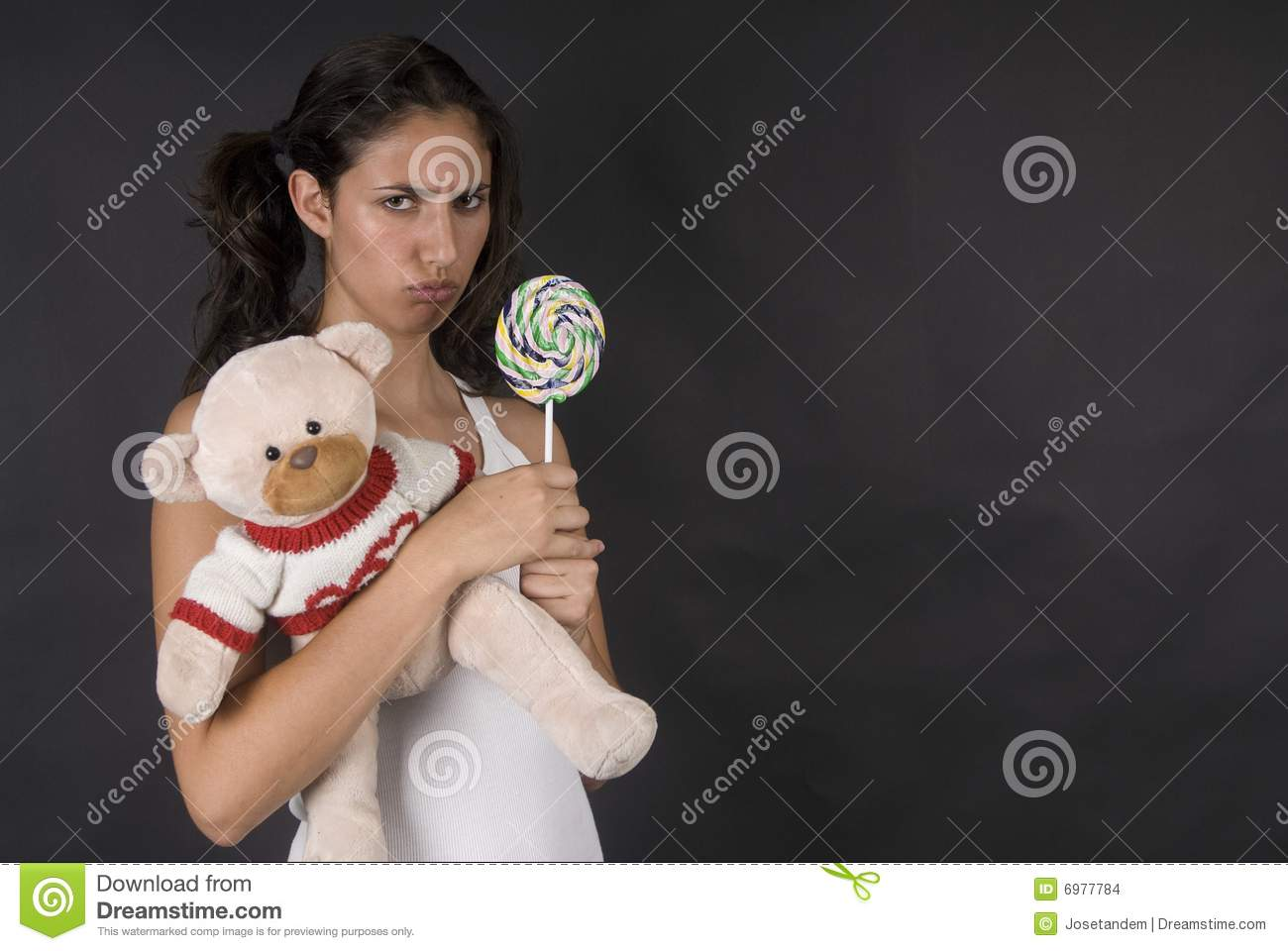 Naughty Girl Eating A Large Lolly Pop Stock Photo Image Of