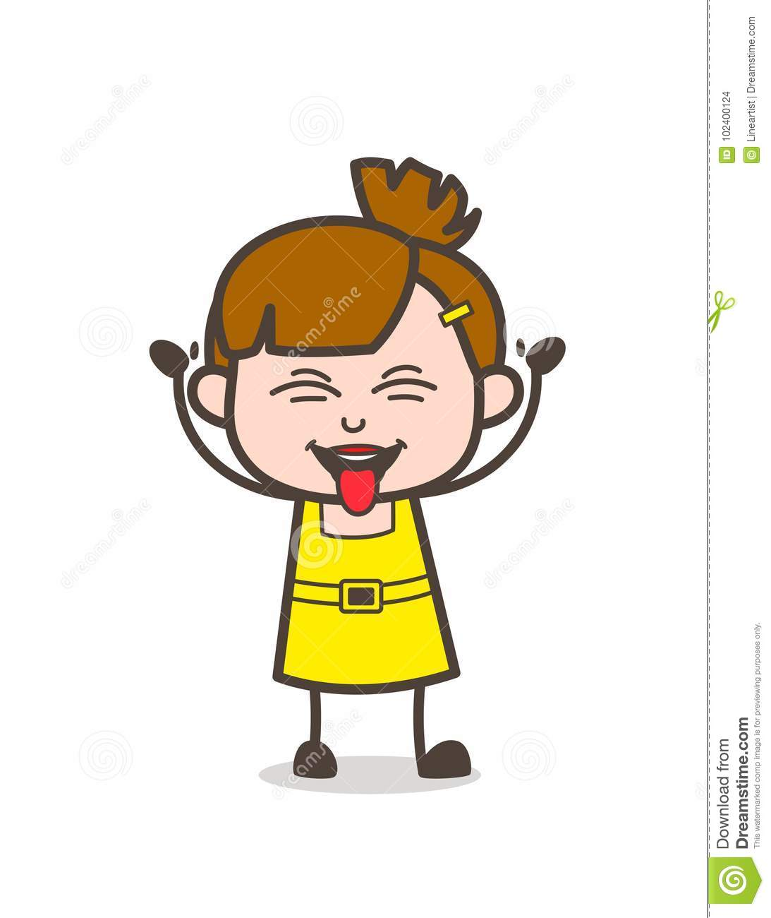 Naughty Kid Stuck Out Tongue Face Cute Cartoon Girl Vector Stock