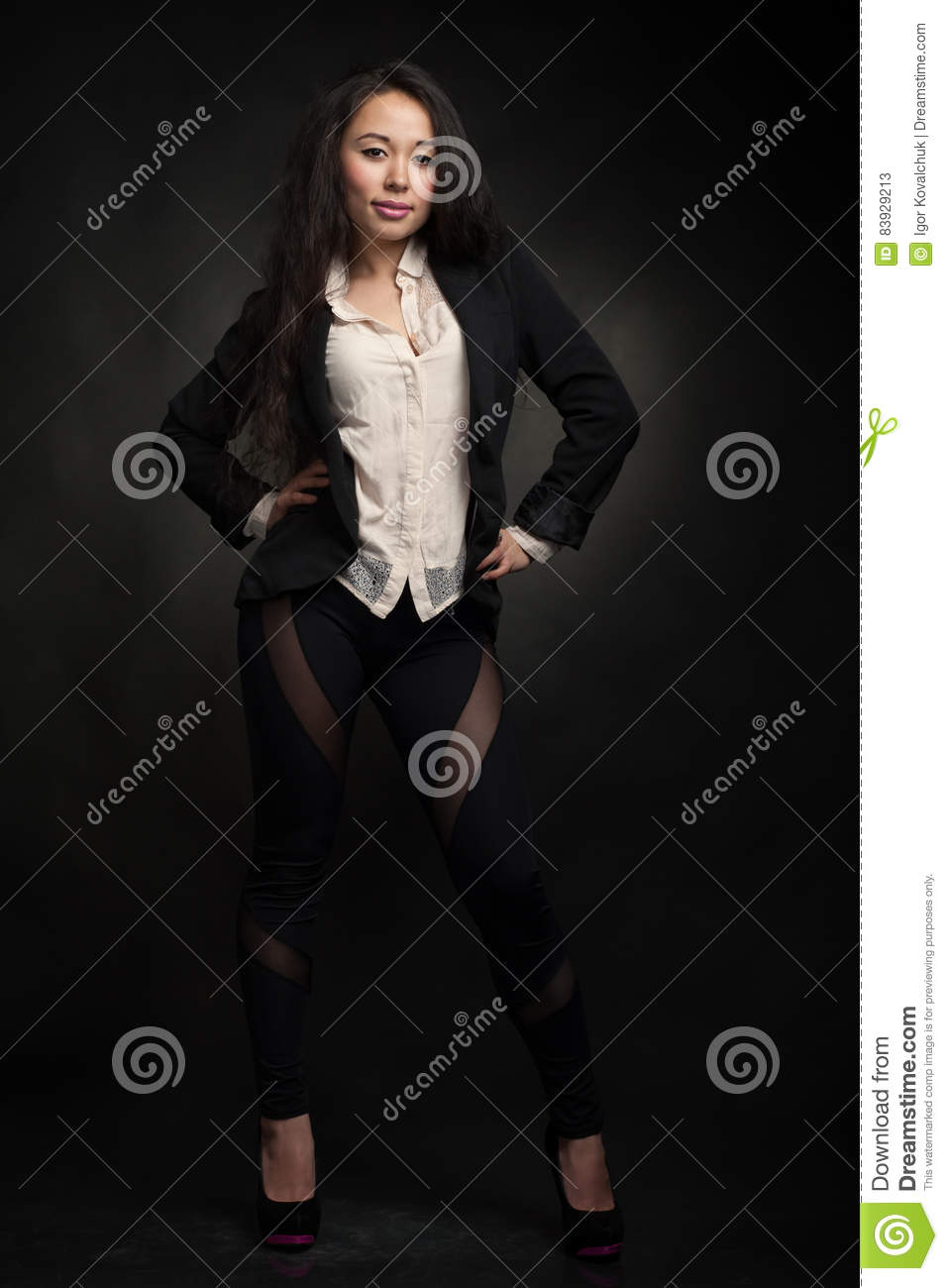 Naughty woman in jacket. Royalty-Free Stock Photo