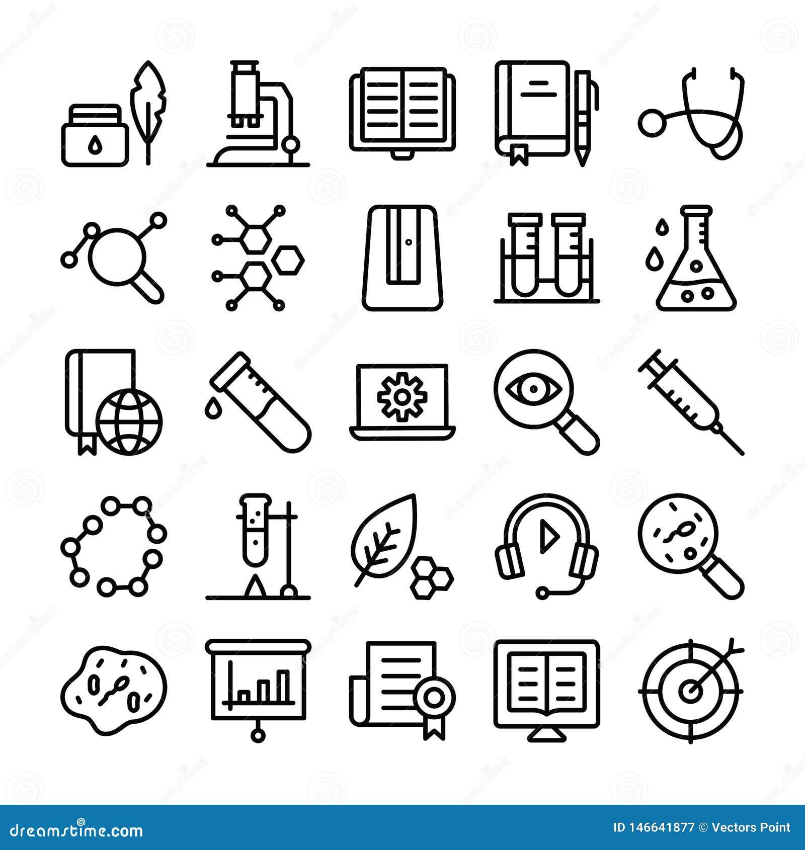 Nauki i edukacji Kreskowe ikony Ustawiać