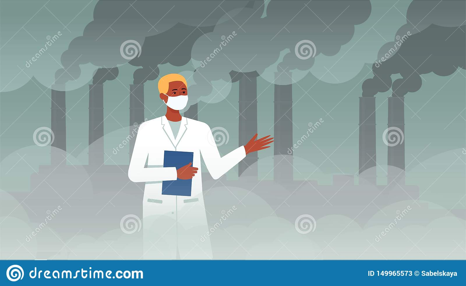 Naukowa mężczyzna przed substancją chemiczną plat z drymby dymną dyskutuje ekologią zanieczyszczenie powietrza i