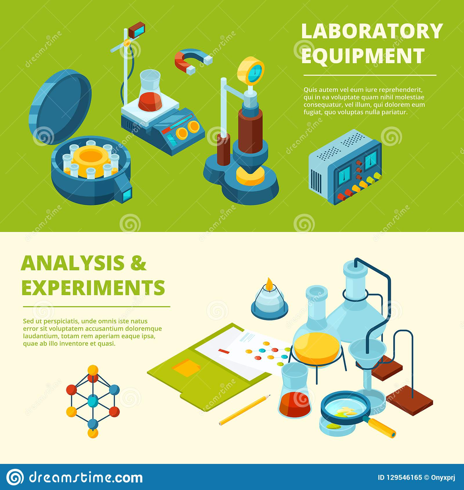 Naukowi sztandary Medycznego lub chemicznego eksperymentu laborancki pokój i wyposażenie wektorowi isometric obrazki