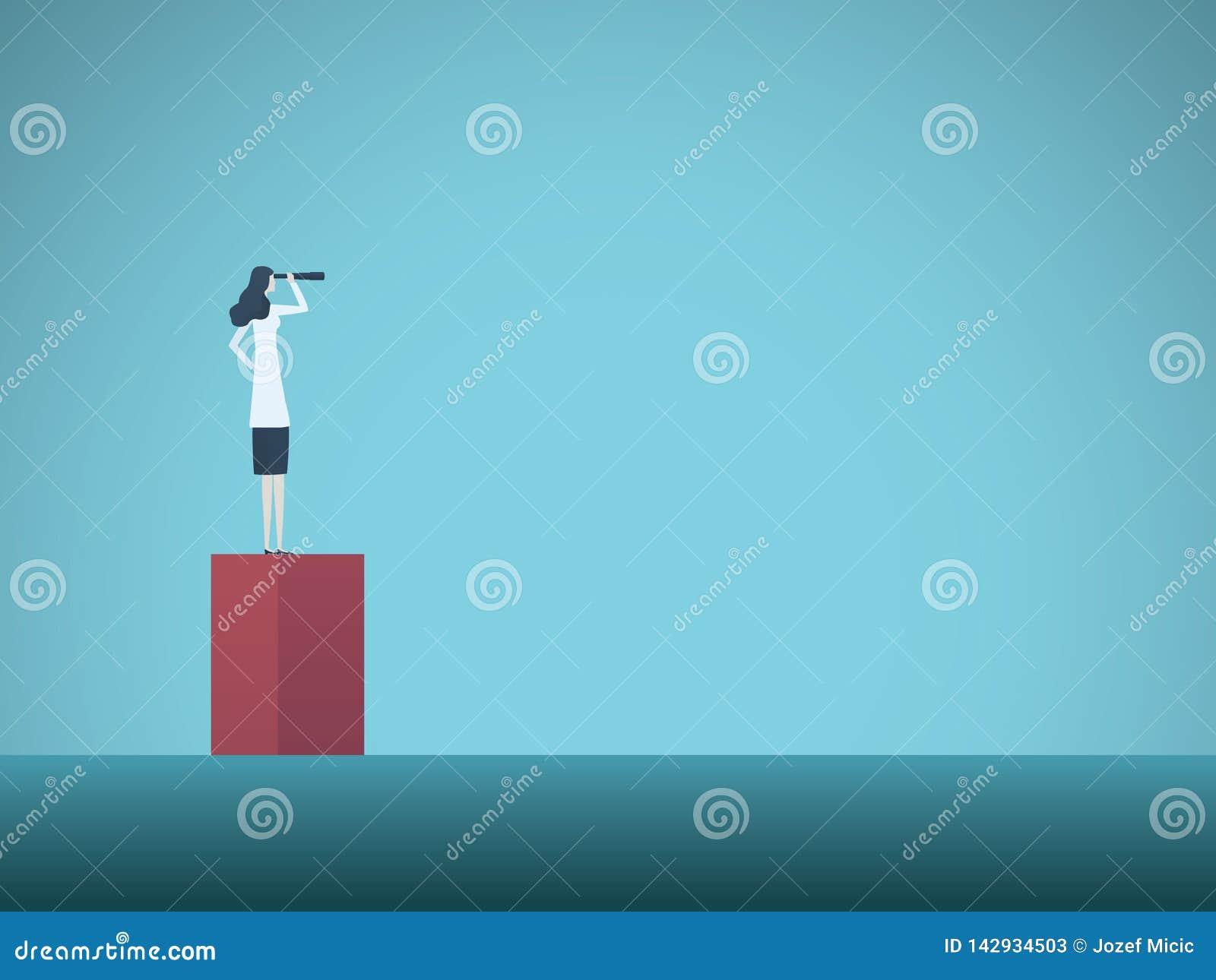 Naukowiec kobieta patrzeje poza horyzontu wektoru pojęcie Symbol osiągnięcie, motywacja, ambicja, dążenia i