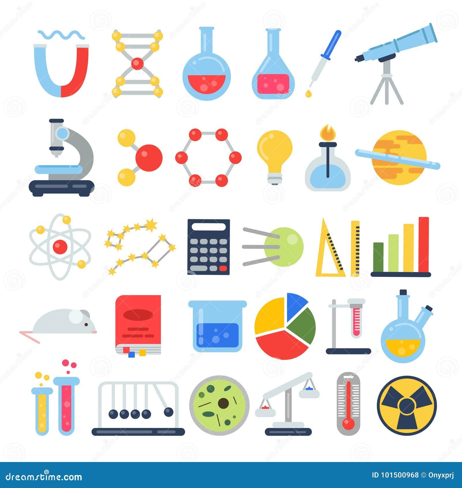 Naukowy ikona set Laboratorium naukowe z różnym wyposażeniem Wektorowi obrazki w mieszkanie stylu