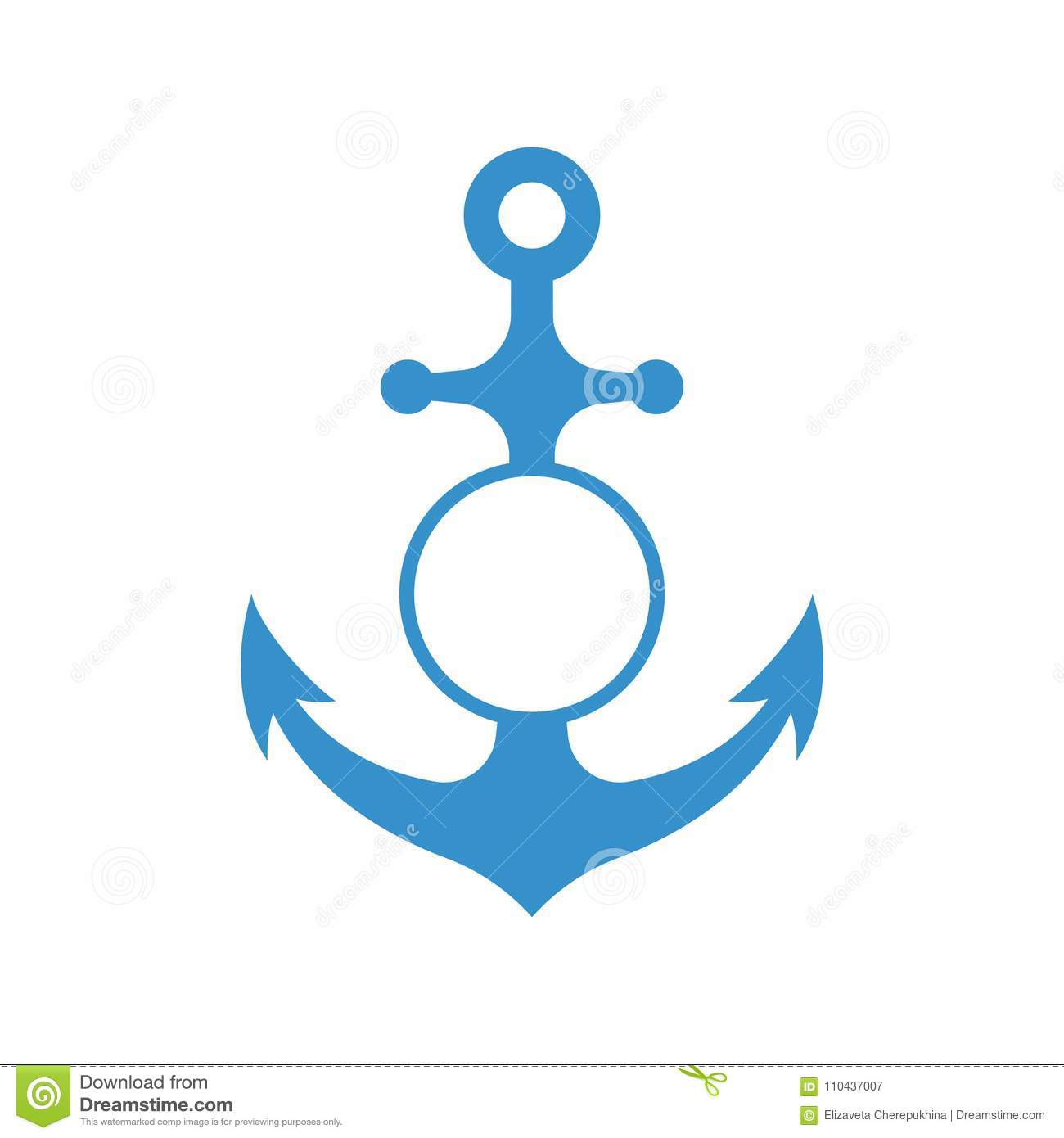Download Nautical Anchor With Circle Monogram Isolated On White Background Blue Sulhouette Vector Stock