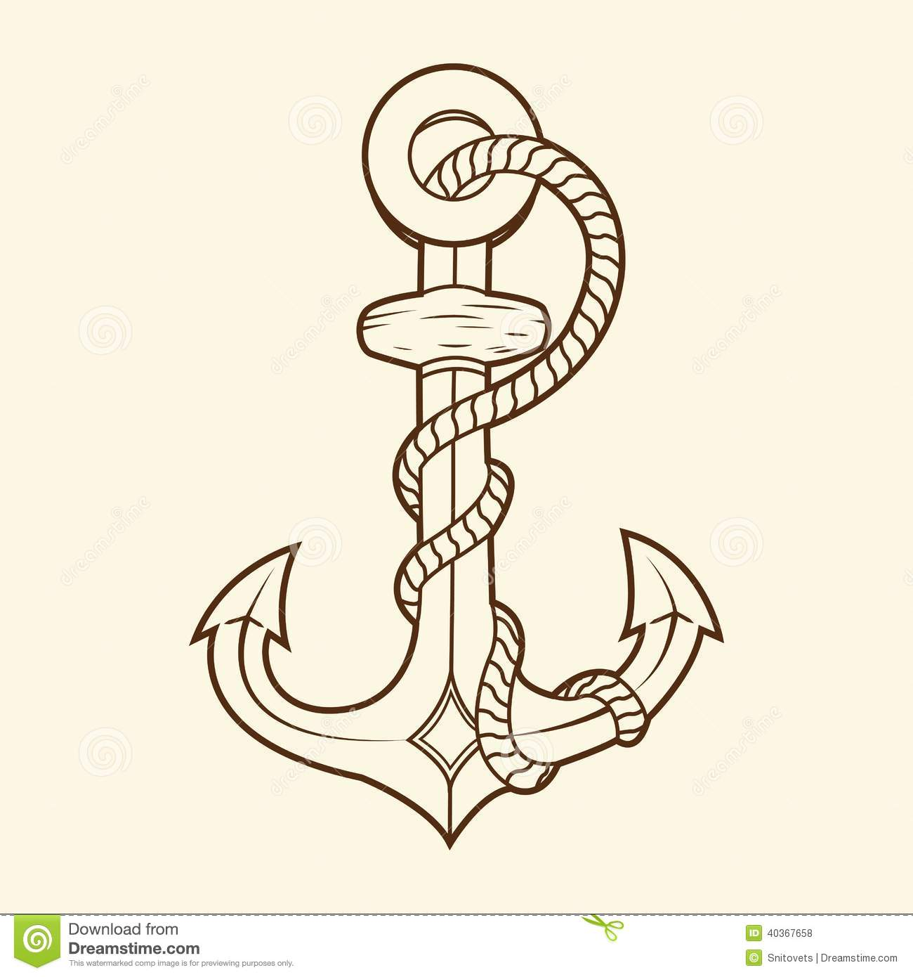 Nautical anchor with rope isolated on beige background. Brown outlines ...