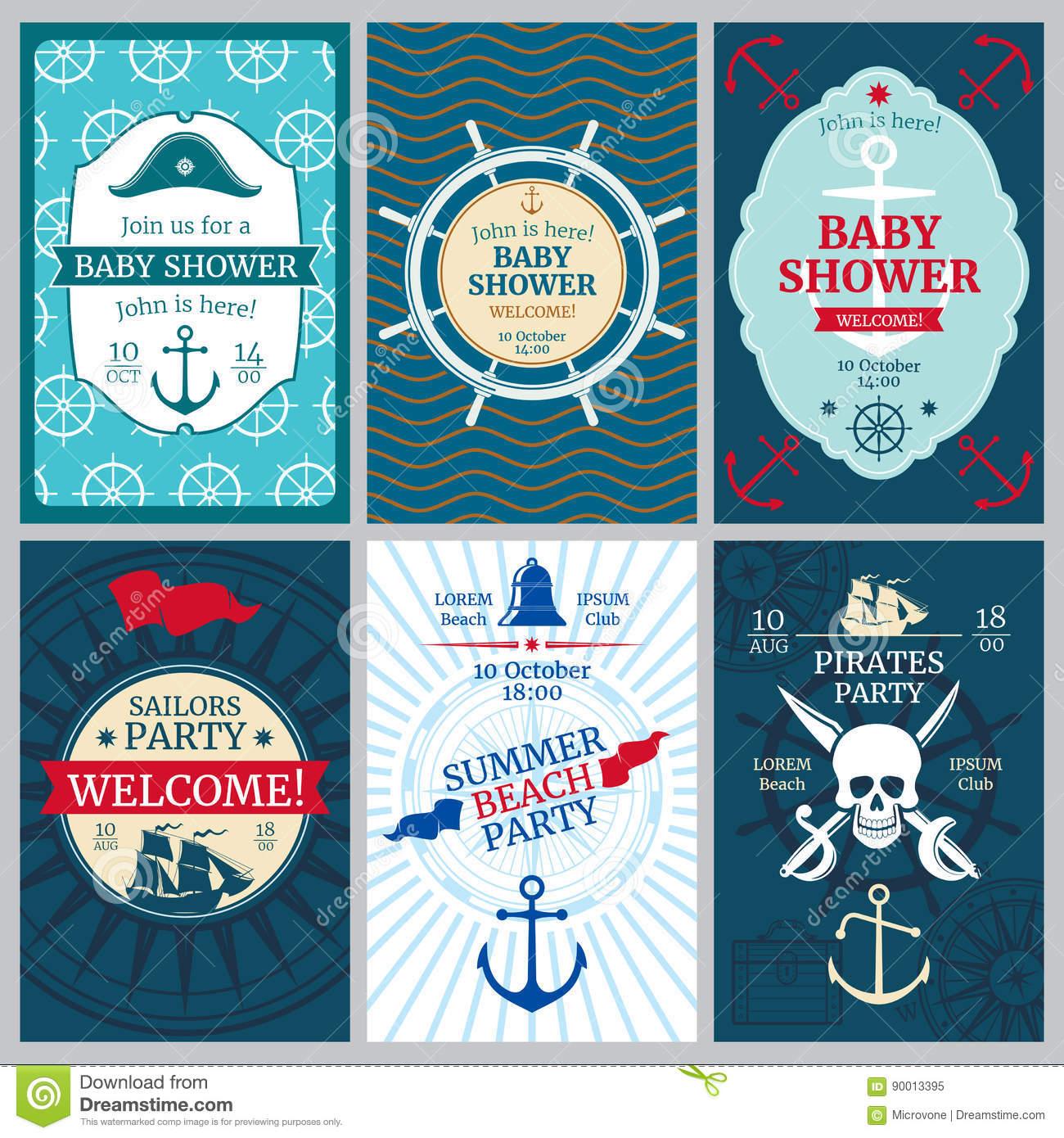 Nautical Baby Shower Birthday Beach Party Vector Invitation Cards