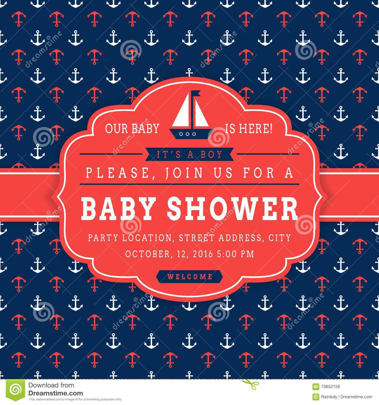 nautical baby shower card  stock vector