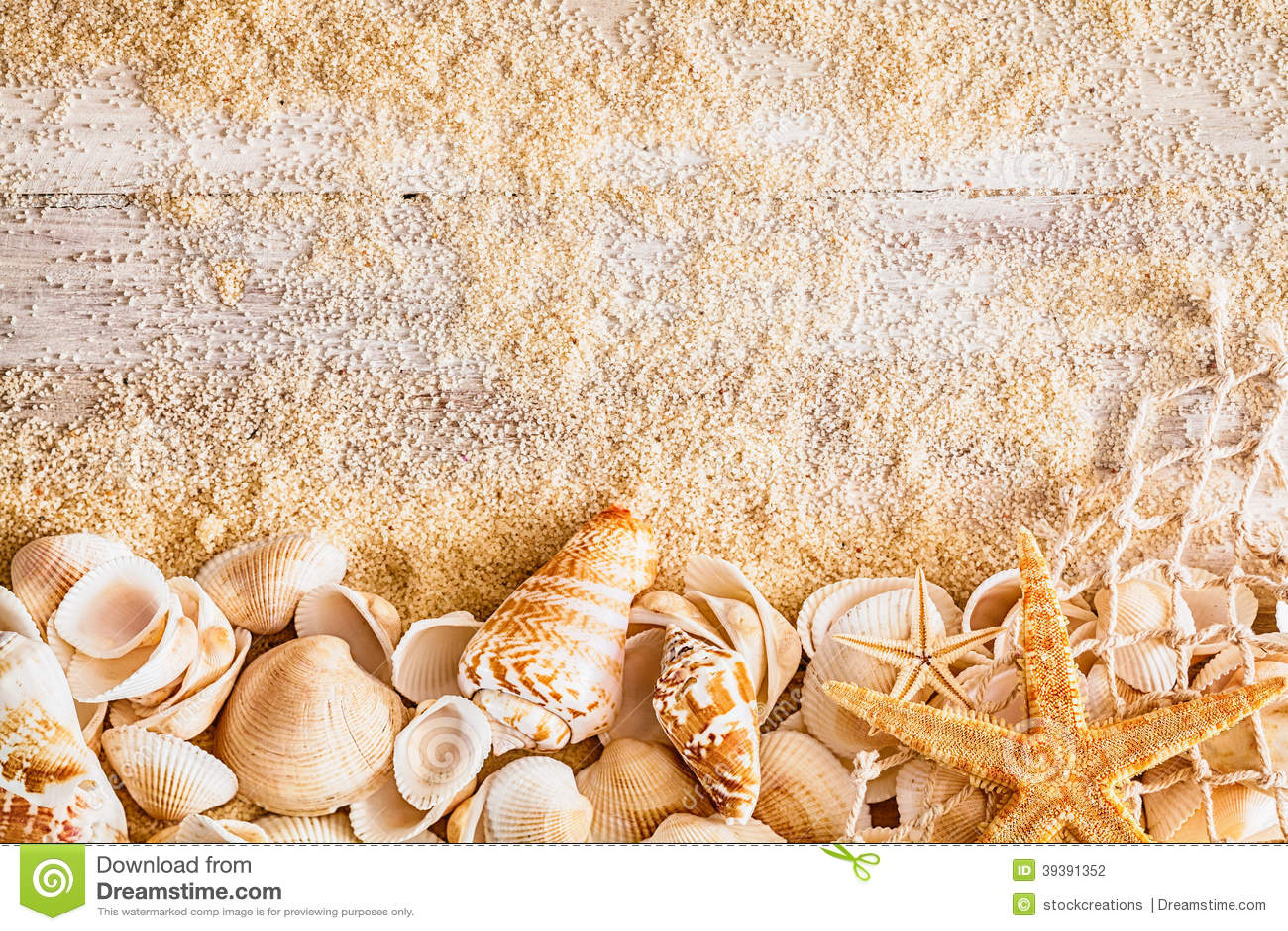 Nautical Background And Border Of Seashells