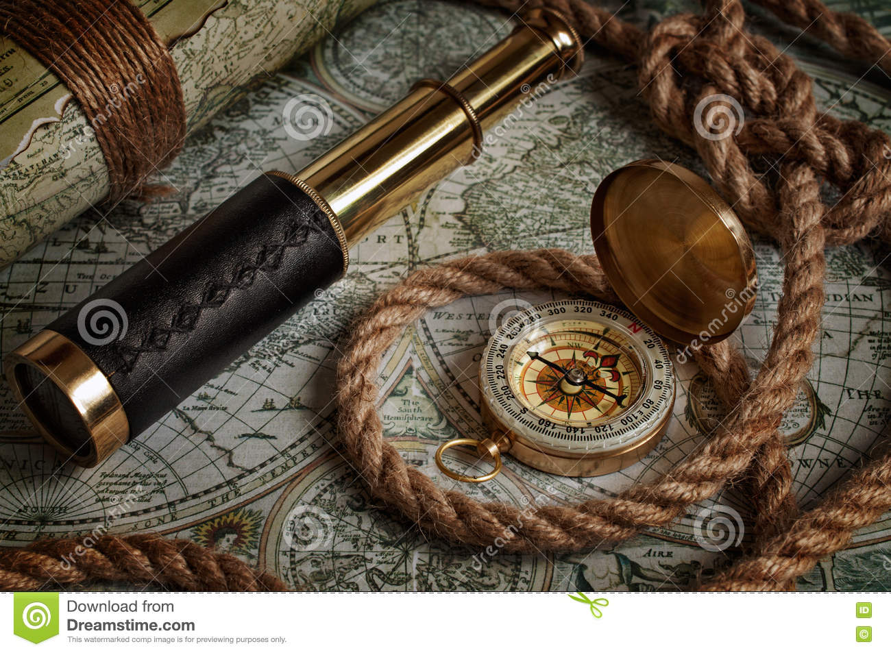 Antique Nautical Navigation Tools Stock Photo | Getty Images
