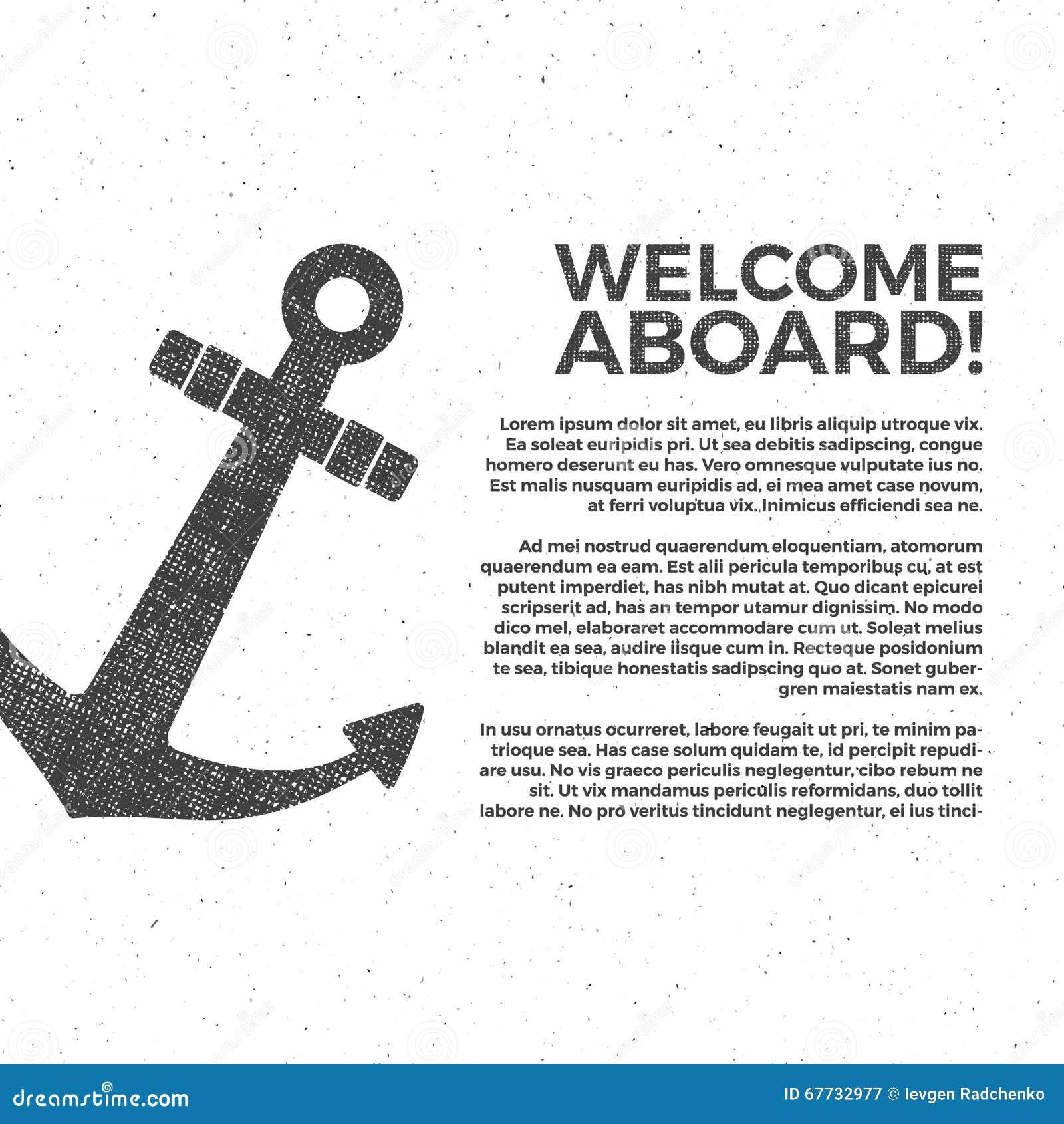Nautical Banner Design. Sailor Vector Poster Template. Anchor Label ...