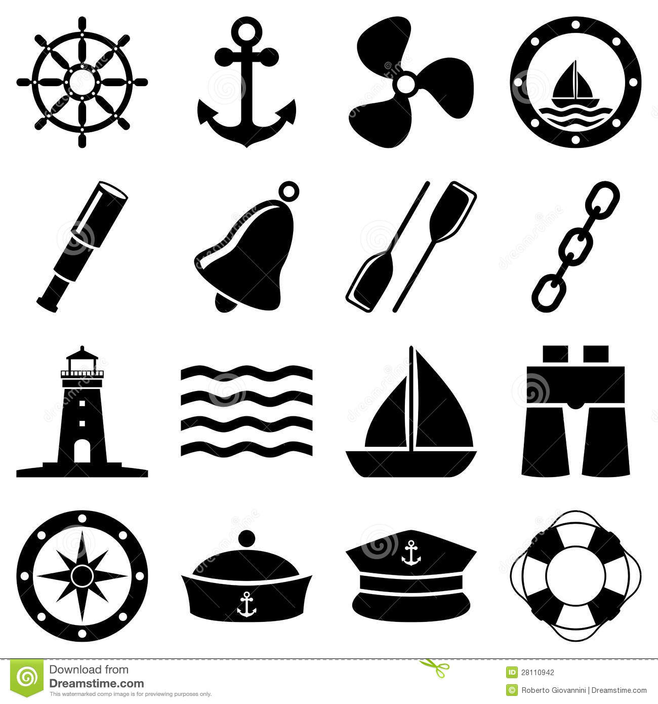 nautical black and white icons stock vector illustration of