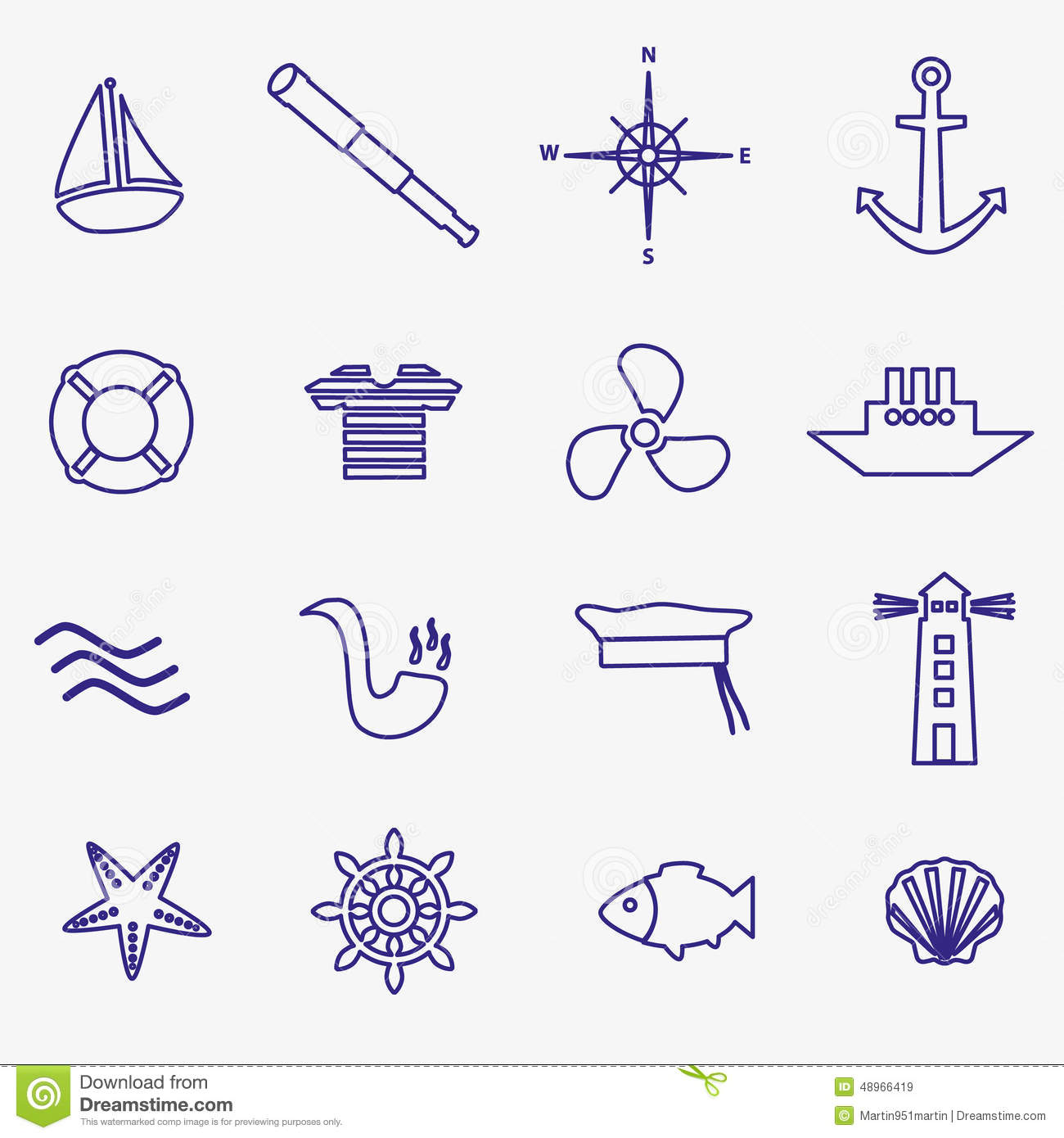 nautical blue simple outline icons set - Simple Outline Pictures
