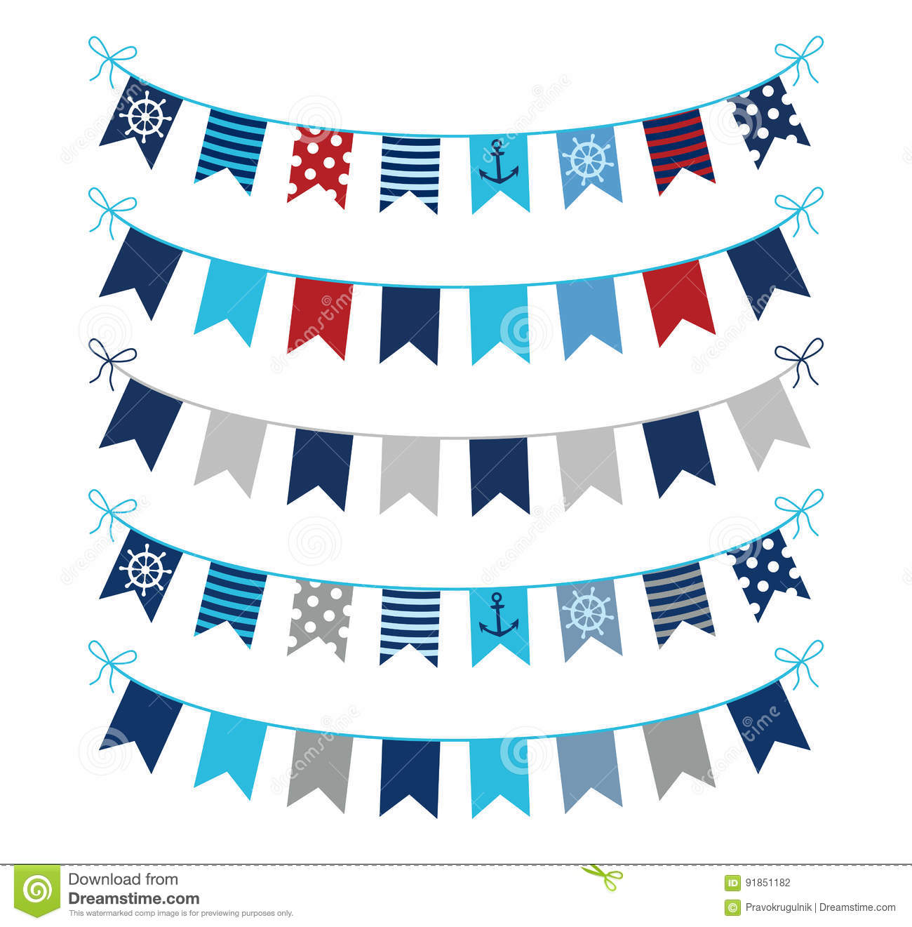 Nautical Buntings In Blue Red And Grey Stock Vector Illustration