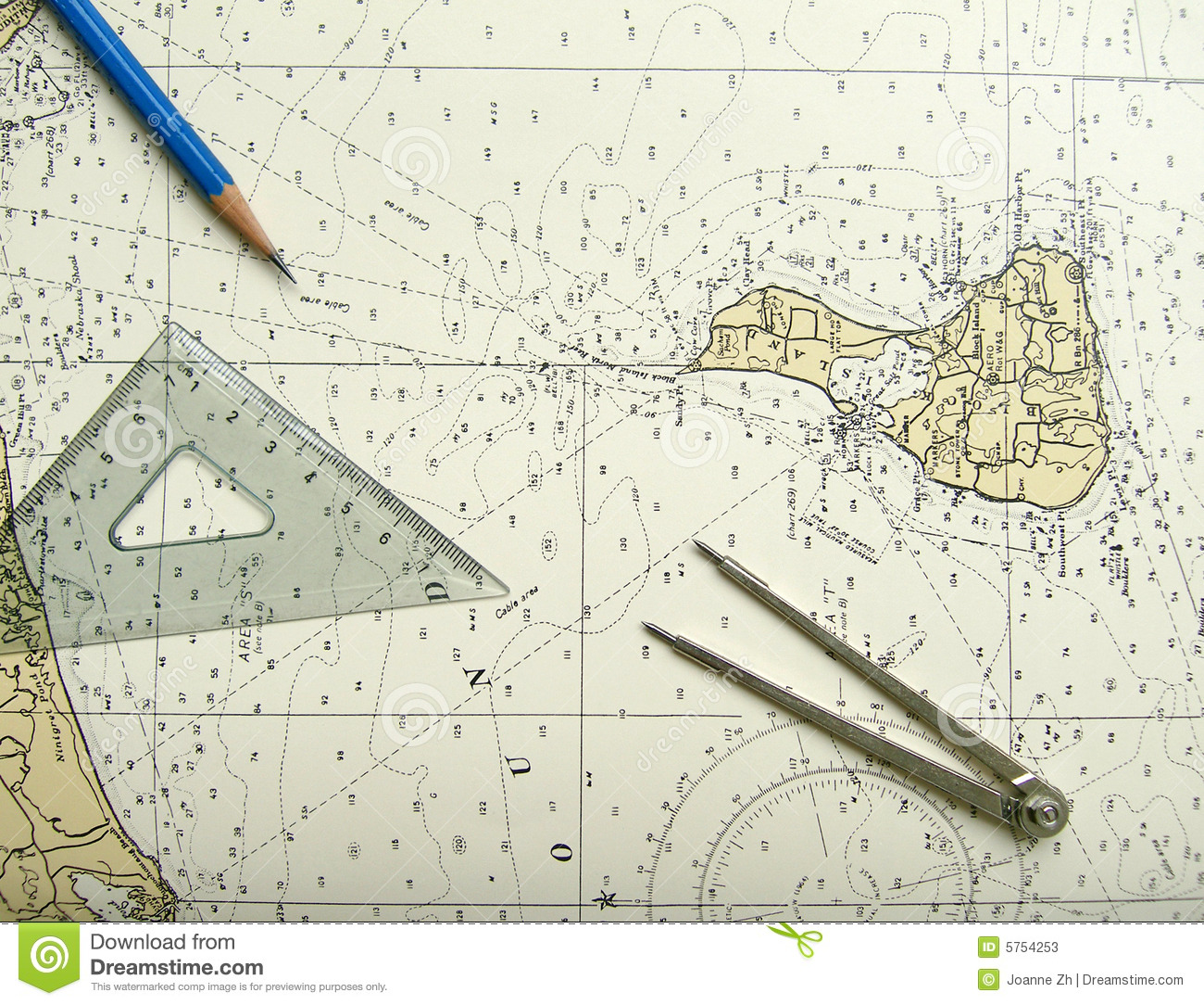 Nautical Chart And Divider Stock Photos - Image: 5754253
