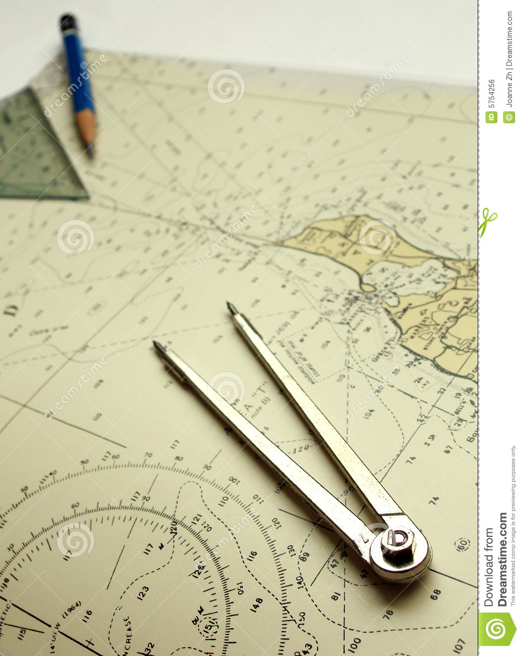 Nautical chart and dividers