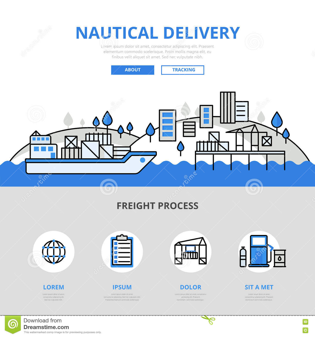 Line Art Website : Nautical delivery water transport banner flat line art