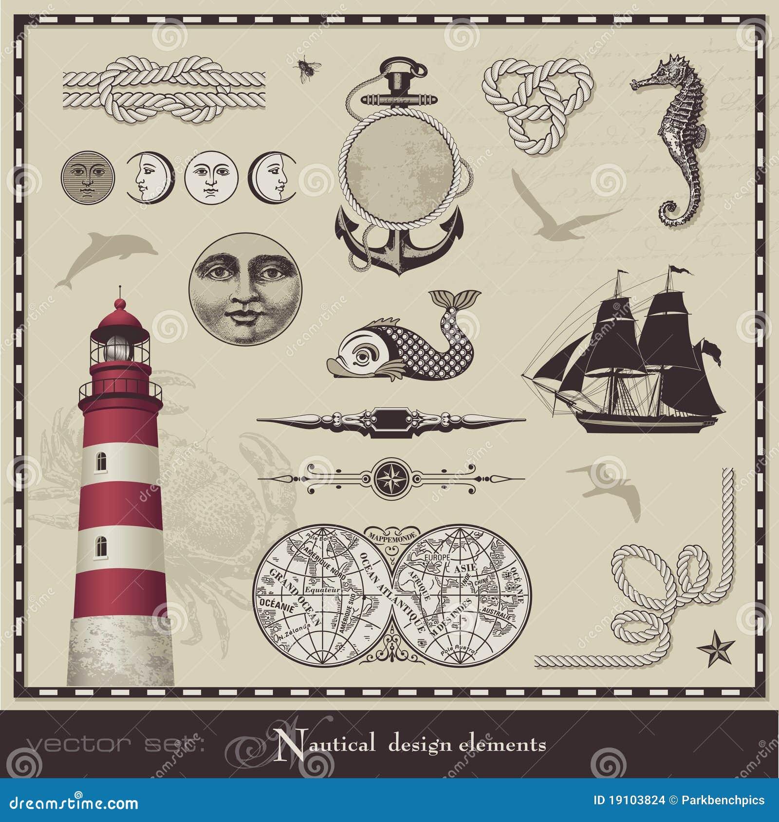 Key Elements Of Nautical Style: Nautical Design Elements Stock Vector. Image Of Design