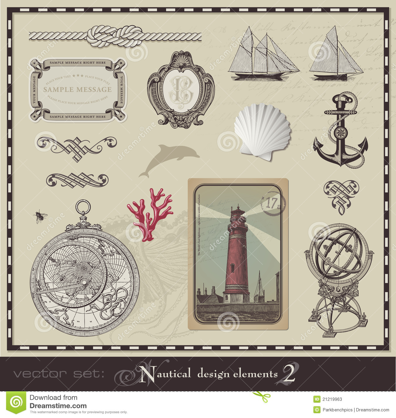 Key Elements Of Nautical Style: Nautical Design Elements (set 2) Stock Photos