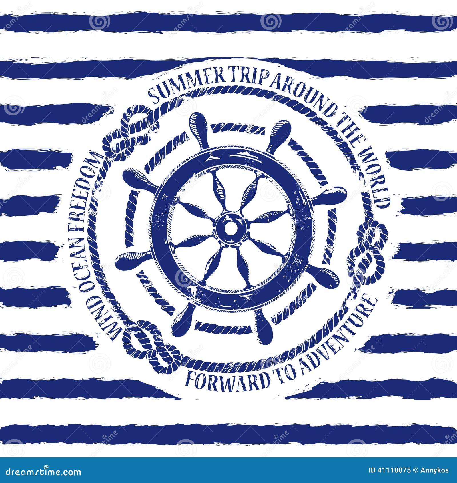 Nautical Emblem With Sea Wheel Stock Vector - Image: 41110075