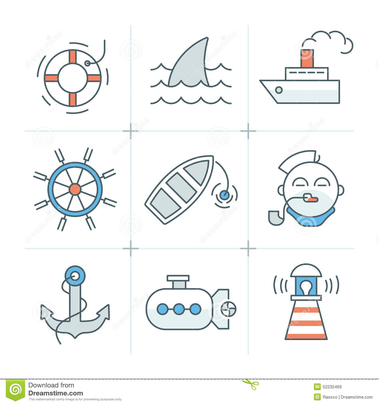 Key Elements Of Nautical Style: Nautical Icons Collection Stock Vector. Illustration Of