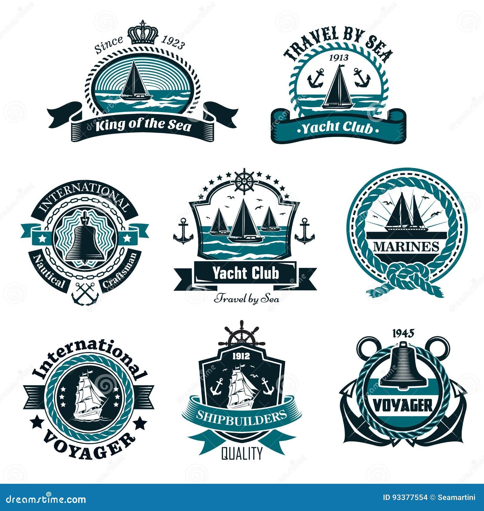 nautical icons and vector marine symbols set stock vector