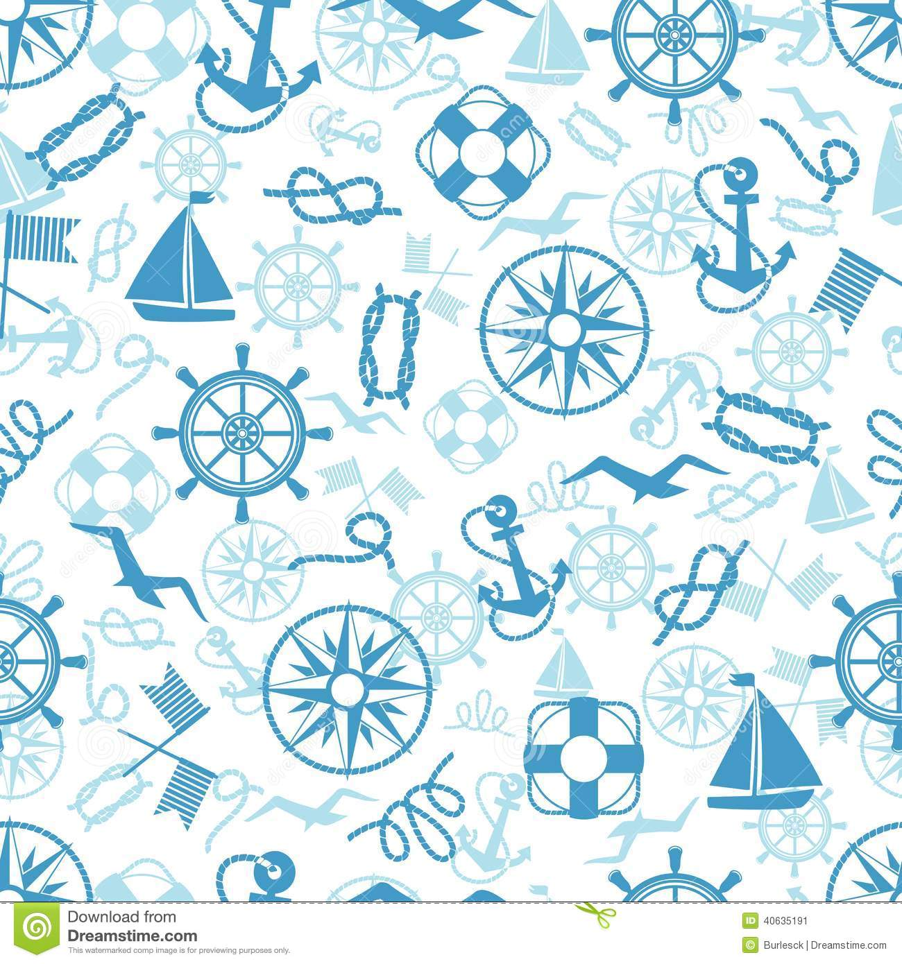 Nautical Or Marine Themed Seamless Pattern Stock Vector ...