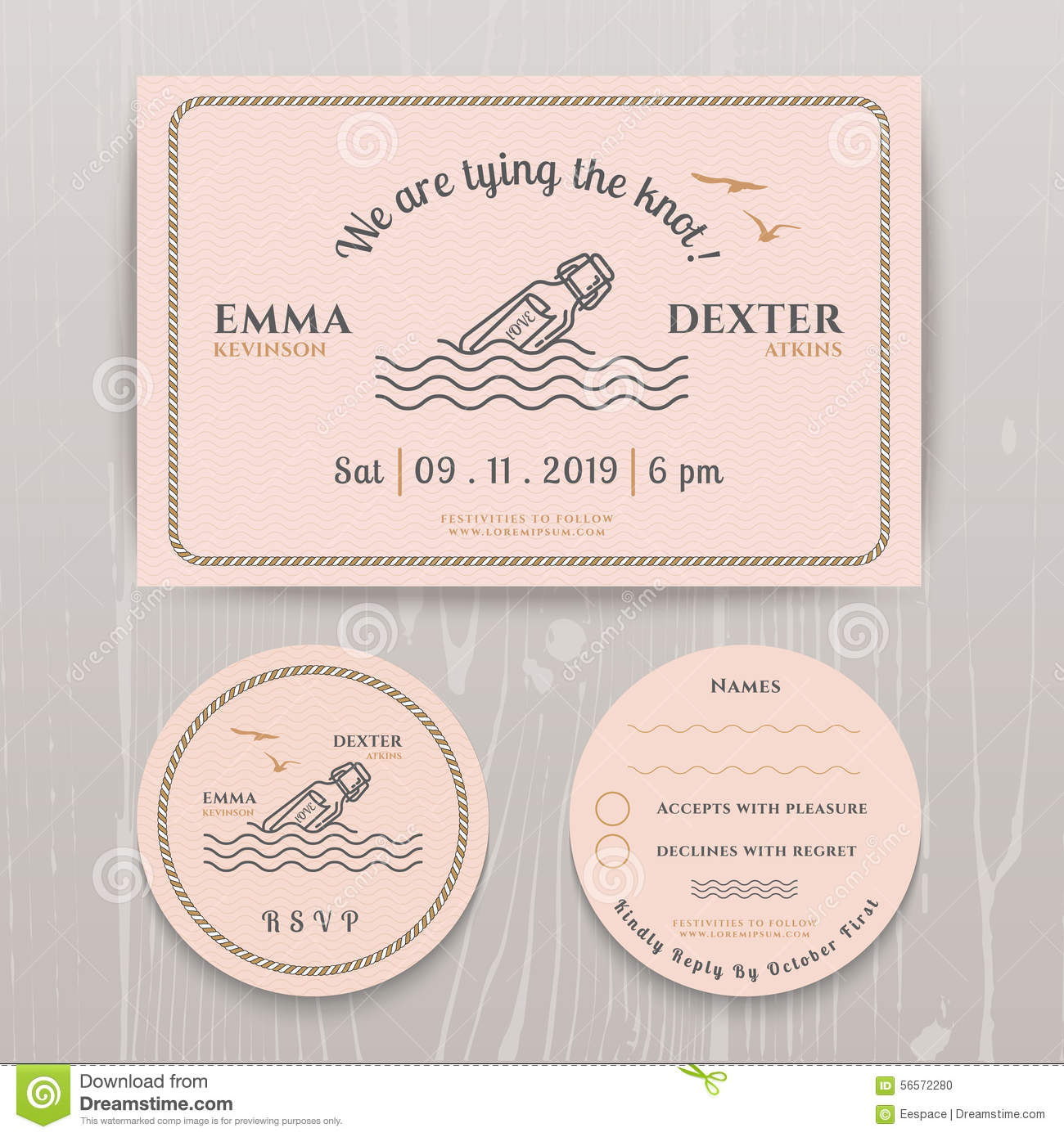 Nautical Message In The Bottle Wedding Invitation And RSVP Card – Rsvp Card Template Word