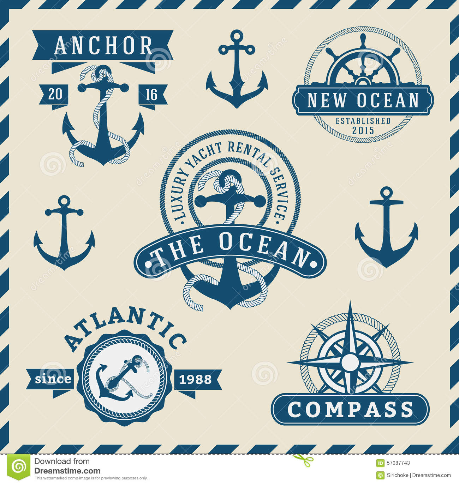 Nautical, Navigational, Seafaring And Marine Insignia Logotype ...