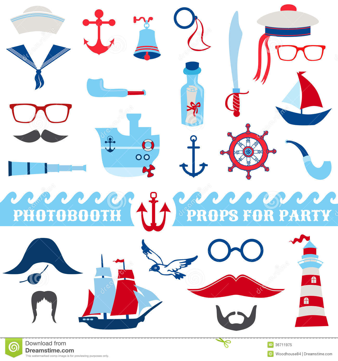 nautical party set royalty free stock photo image 36711975 Anchor with Rope Clip Art Black and White ship anchor with rope clipart