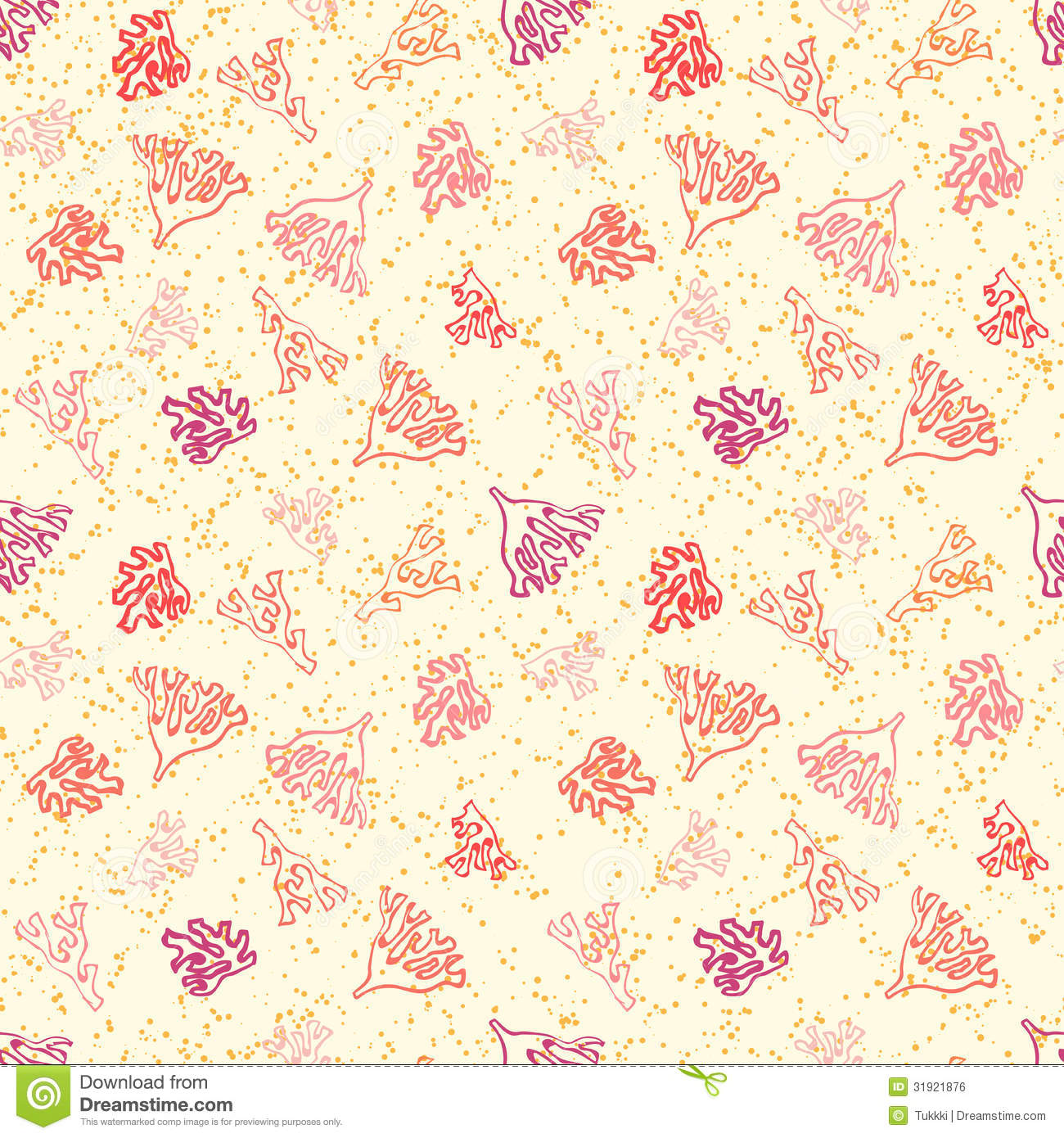 Nautical Pattern With Corals On Sandy Beach Royalty Free