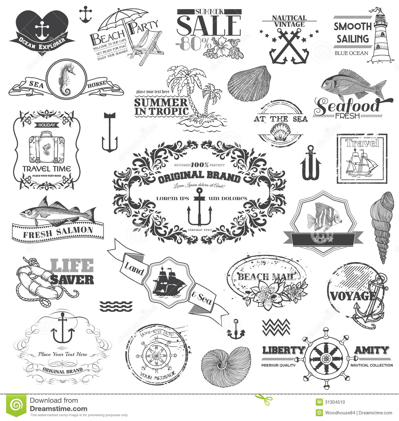 Key Elements Of Nautical Style: Nautical Sea Calligraphic Elements Stock Vector