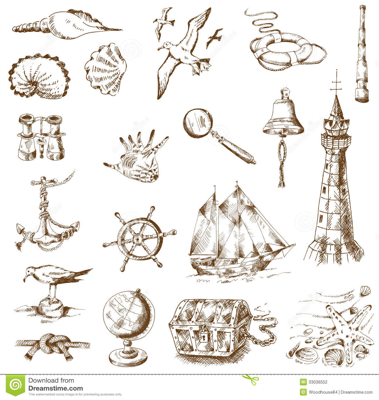 Key Elements Of Nautical Style: Nautical Sea Design Elements Stock Photography