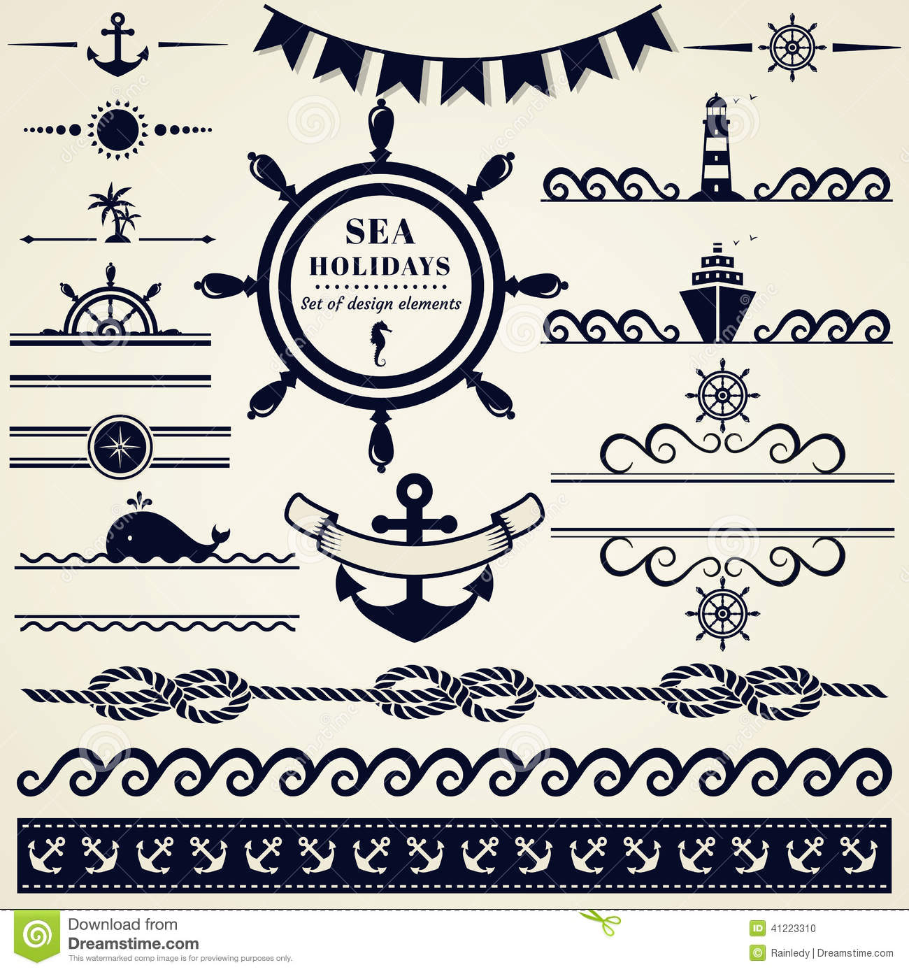 Nautical and sea design elements vector set stock vector for Decoration elements