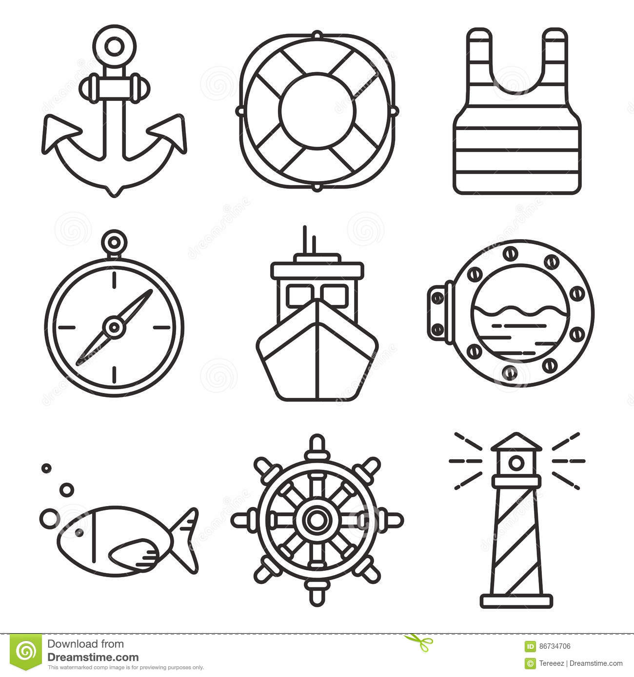 94371f20a Nautical Or Sea Trip Black Outline Icons Isolated Stock Vector ...