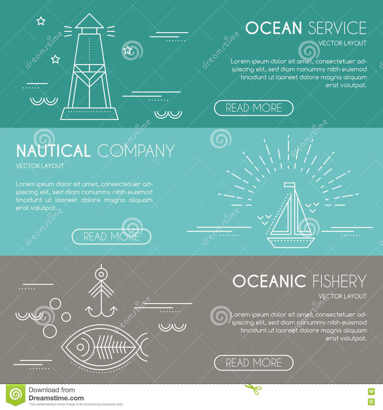 Nautical or seafaring company banner design template with thin nautical or seafaring company banner design template with thin lile style illustration pronofoot35fo Images