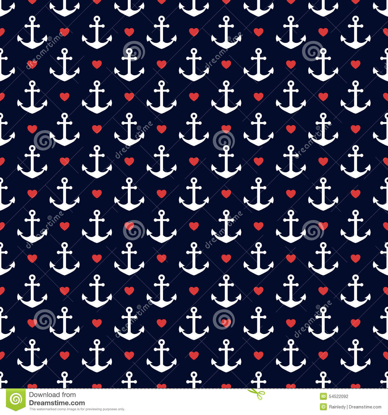 Nautical Seamless Pattern With Anchors And Hearts. Stock ...